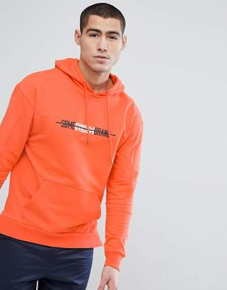 Stradivarius Hoodie With Some Random Brand Slogan In Orange