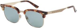 Gucci GG 0051S Tortoiseshell-Like Clubmaster Sunglasses