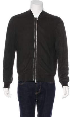 AllSaints Sheep & Goat Leather Bomber Jacket