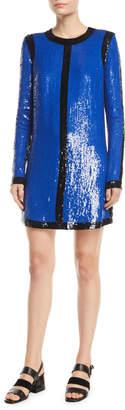 Michael Kors Long-Sleeve Sequin-Embroidered Shift Dress