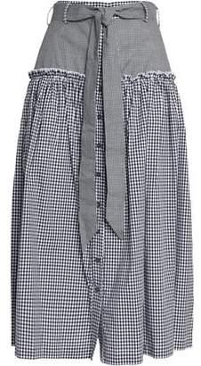 Nicholas Belted Gingham Cotton-Poplin Midi Skirt