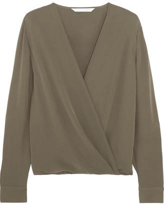 Diane von Furstenberg - Marci Wrap-effect Silk-crepe Blouse - Sage green $300 thestylecure.com