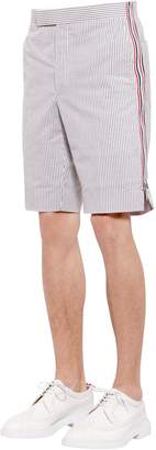 Thom Browne Stripe Side Zip Seersucker Cotton Shorts