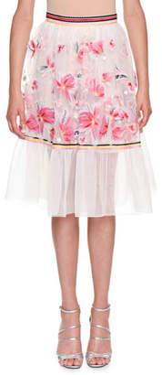 Ermanno Scervino Floral-Embroidered Organza Skirt