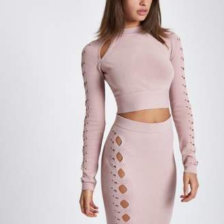 River Island Womens Light pink cut out cropped long sleeve top