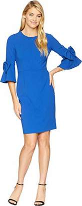 Donna Morgan Women's 3/4 Bell Sleeve Shift Dress with Bow Detail