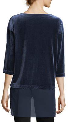 Neiman Marcus 3/4-Sleeve Velvet Tunic