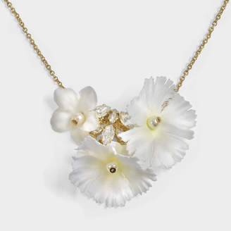 Anton Heunis Showball Flower Necklace in White and Gold Metal