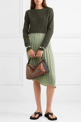 J.W.Anderson Asymmetric Layered Wool-blend And Linen-blend Midi Dress - Green