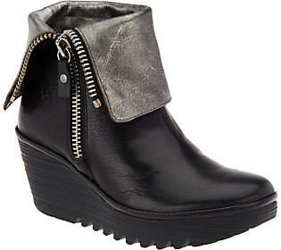 Fly London Leather Foldover Boots with Side Zip- Yex