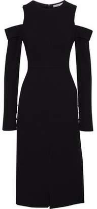 Tibi Cold-Shoulder Stretch-Crepe Midi Dress