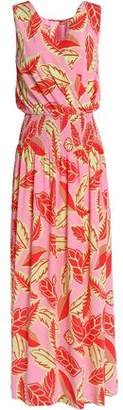 Moschino Wrap-Effect Smocked Printed Woven Maxi Dress