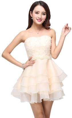 Drasawee Short Strapless Organza Pearls Prom Cocktail Party Dresses for Teen Girls