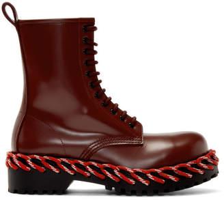 Balenciaga Burgundy Combat Boots