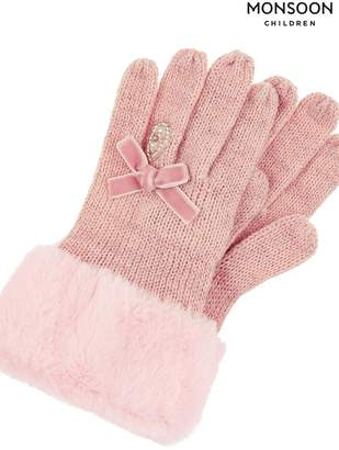 Monsoon Girls Diamond Ring Princess Gloves - Pink