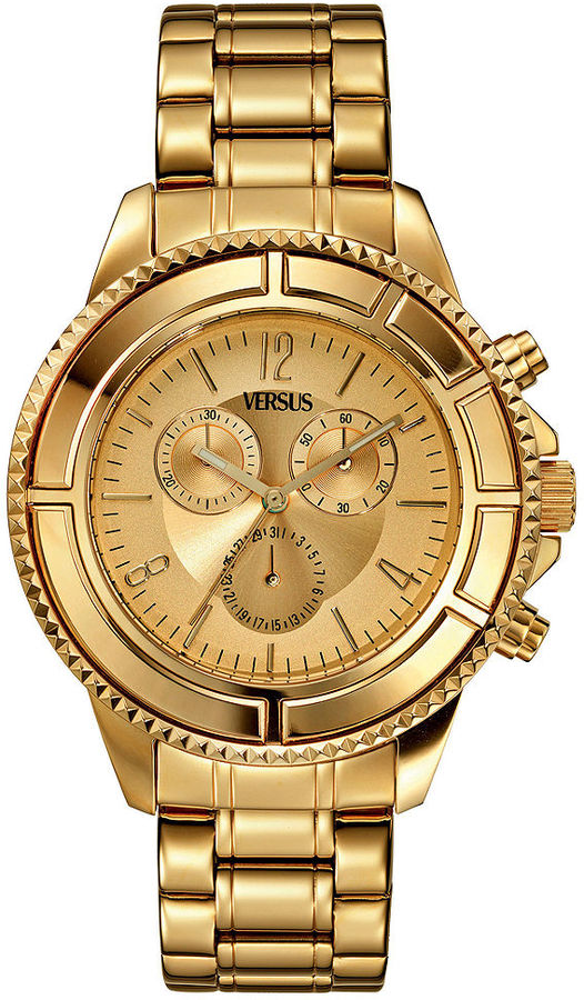Versus By Versace Watch, Unisex Chronograph Tokyo Gold Ion-Plated Bracelet 44mm SGN02 0013