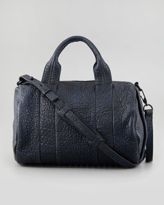 Alexander Wang Rocco Stud-Bottom Satchel Bag, Navy