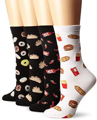 K. Bell Women's 4 Pack Novelty Crew Socks, Favorite Foods, 9-11