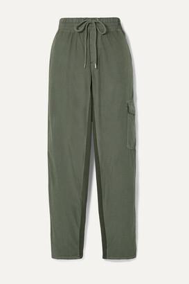 James Perse Cropped Crinkled Cotton-blend Poplin Track Pants