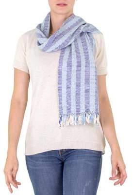 Artisan Crafted Cotton Scarf from Guatemala, 'Blue Atitlan'