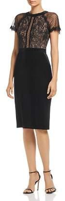 Tadashi Shoji Velvet & Lace Short-Sleeve Dress