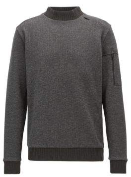 BOSS Hugo Turtleneck sweater in double-faced cotton-blend fleece M Black