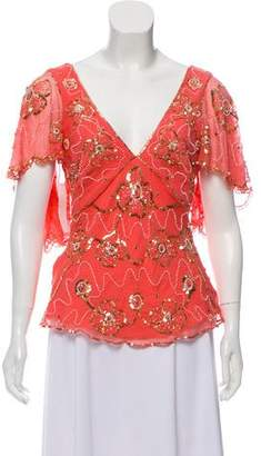 Temperley London Embellished Silk Top