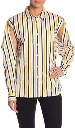 Grey Lab Striped Split Sleeve Button Down Shirt