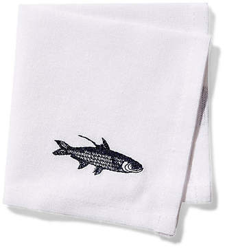 One Kings Lane Set of 4 School of Fish Cocktail Napkins - Blue/White