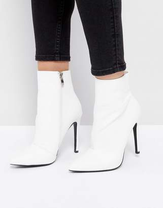 Public Desire Harlee White Pointed Ankle Boots