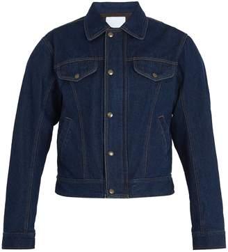 GMBH Cem padded-shoulder denim biker jacket