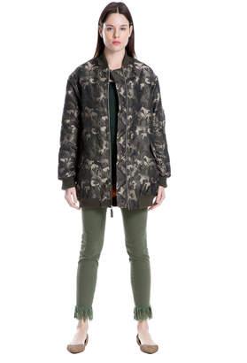 Max Studio jacquard camo bomber jacket