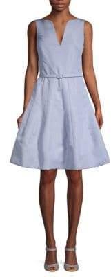 Oscar de la Renta Silk Belted Fit-&-Flare Dress