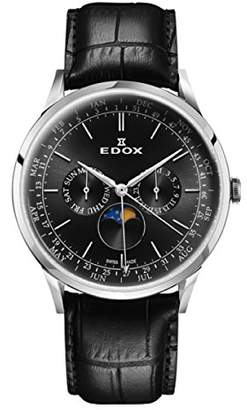 Edox Men's Les Vauberts 42mm Leather Band Steel Case Quartz Watch 40101 3C NIN