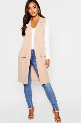 boohoo Petite Sleeveless Pocket Detail Longline Duster