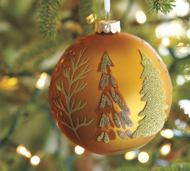 Gold Scenic Ball Ornament