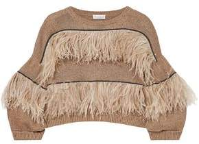 Brunello Cucinelli Feather-Trimmed Embellished Cotton Linen And Silk-Blend Sweater