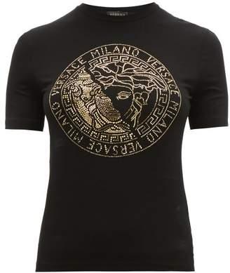 Versace Logo Crystal Embellished Jersey T Shirt - Womens - Black