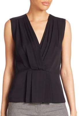 Rebecca Taylor Solid Ruched Sleeveless Top