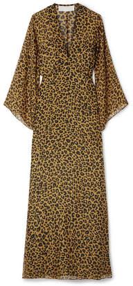 Michelle Mason - Wrap-effect Leopard-print Silk-chiffon Maxi Dress - Leopard print