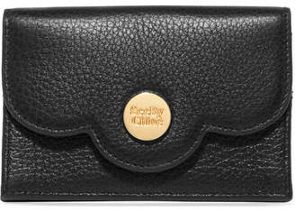 See by Chloe Polina Scalloped Textured-leather Cardholder - Black