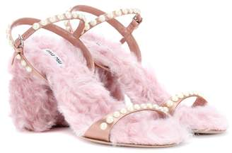 Miu Miu Faux fur-trimmed satin sandals