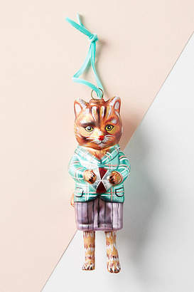 Anthropologie Well-Dressed Glass Cat Ornament