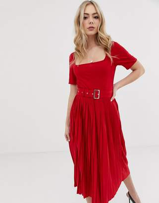 Asos Design DESIGN midi dress with pleated skirt and belt