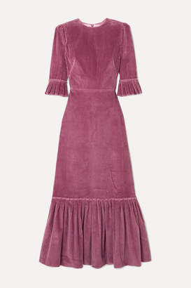 The Vampire's Wife Festival Ruffled Cotton-corduroy Maxi Dress - Purple