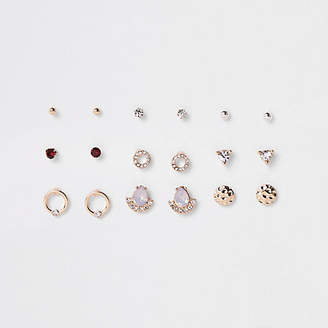 River Island Gold tone opal rhinestone stud earrings pack