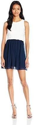 Speechless Junior's Color Blocked Lace to Chiffon Skater