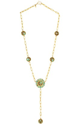 Christina Greene Long Lasso Necklace In Turquoise