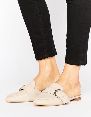 Lost Ink Buckle Backless Mule Loafers