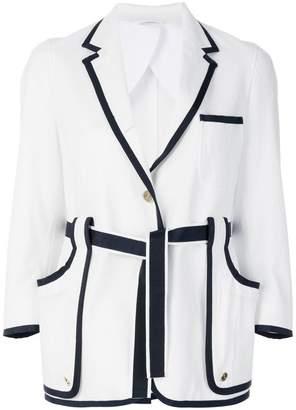 Thom Browne contrast trim belted blazer
